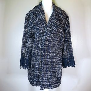 [Chico's] Tweed Lace-Cuff Jacket Size 3 (16)